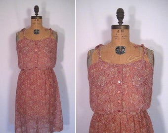 20% off sale : 1970s rose quartz floral print sundress • 70s sheer pink paisley print day dress • vintage would you like to take a walk dres