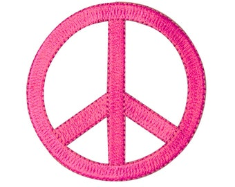 2.25 Inch Peace Sign Die-Cut Pink Iron-On Patch Groovy Craft Decoration Applique