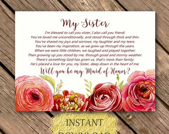SISTER Will You Be My Maid of Honor Proposal RED Card Country Vintage Floral PRINTABLE  Instant Download File Sister Poem