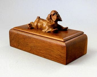Original Lofberg CARVED Walnut Wood BOX w Spaniel DOG Carving on Lid by Archie Lofberg Mid Century 7x3x2 one piece routed out box 4x2 dog