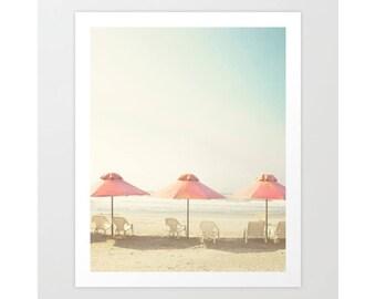 Extra large wall art, beach wall art canvas art, beach print, beach photography, gifts for men, gifts for women pink umbrella beach umbrella