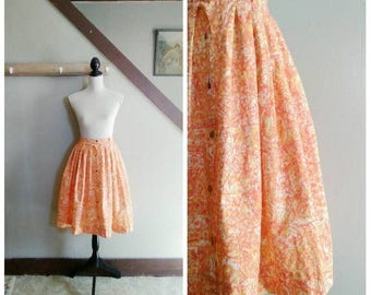20% OFF / The Lost Horizon 1950s Catalina Sportswear Orange/Cream/Red/Yellow Abstract Print/Button Front Skirt