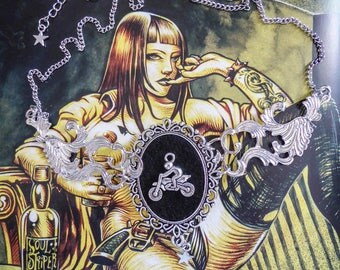 "Necklace cabochon silver felt Boho Chic steampunk ""Ghost Rider"""