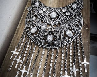 Crucifix ♰ 666 Devil 666 ♰ glam rhinestone bib necklace