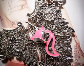 Bohemian gypsy silver lace bib necklace pink ♠Fox♠