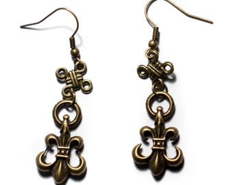 Earrings bronze Chinese knot and Fleur de Lys