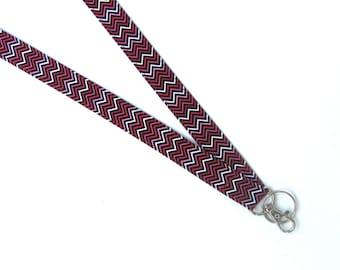 ID Badge Lanyard Key Holder, Chevron lanyard badge holder, Fabric lanyard gift for Teacher, Nurse, Student