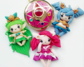 Star Guadians Lux poppy Janna Jinx and Lulu key chains League of legends Polymer clay handcrafted