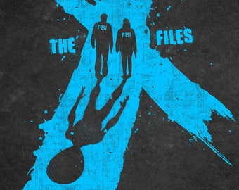 The x files poster,digital print,wall art,blue,black,Mulder,Scully,tv series poster,aliens poster,wall decor,home decor,The x files print