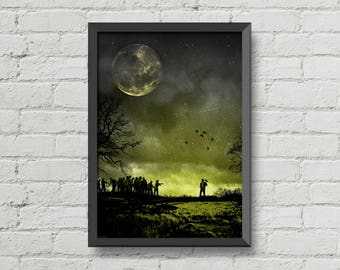 Zombie attack,poster,print,zombie,dead,walking,night,art,green,yellow,moon,scary,gothic