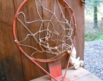 Vintage Iron 1950s Orange Basketball Hoop Rim Sports Memorabilia Industrial Metal Mid Century Modern Rustic Primitive Iron Basket Ball Game