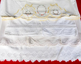 Vintage 1930s Tatted Embroidery Lace Pillowcase Lot 4 Sets French Farmhouse Edwardian Cottage Decor