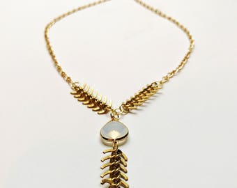 Opalite necklace / opal necklace / lariat / Y necklace / moonstone necklace / boho necklace / bohemian necklace /