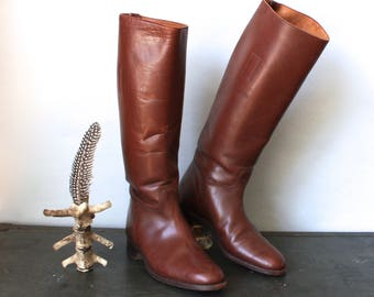 Vintage Tall Leather Riding Boots Chestnut Brown Knee High Leather Boots Equestrian Boots Sz 7.5 8 Stacked Heel