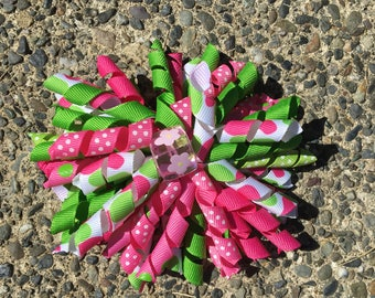 Hair Bow Clip - Hot Pink, Light Pink, Green and Polka Dot Ribbon Korker / Corker Hair Clip with Large Pink Square Flower Bead