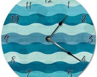 "10.5"" WAVES Clock - BLUE Clock - Living Room Clock - Large 10.5"" Wall Clock - Home Décor Clock - 5763"