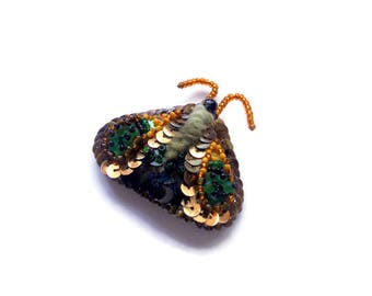 Butterfly Brooch seed bead embroidered Moth pin