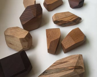 Wood worry stone, geometric wooden fidget toy