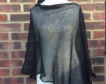 Black Linen Elegant Knit Poncho Cape. Minimalistic Natural Linen  Cape . Weddings, Parties. Stylish poncho wrap . Dia de los Muertos Cape