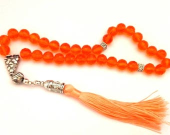 Handmade Crystal Faceted Islamic Prayer Beads Tesbih Tasbih 27.61 Gr Orange Color