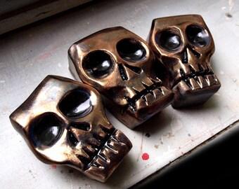 Ceramic skull, MADE TO ORDER, Metal glazed skull, Black skull, Creepy skull, Skull sculpture, Desk skull art, Desk sculpture skull