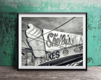 Ice Cream - Shelly's Freeze - Chicago Vintage Sign Photography Print photo