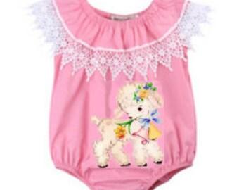 Baby Infant Girl Custom Vintage Lace  and Lamb Pink  Romper Sunsuit Sun Suit