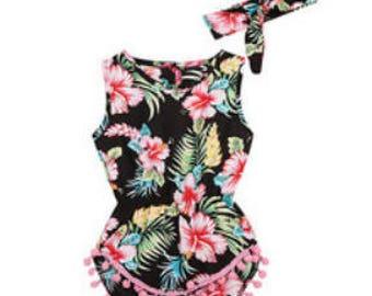 Tropical Hawaiian Luau Romper Sunsuit Sun Suit Jumper with Headband