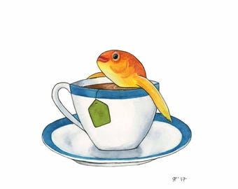 Watercolor Goldfish Original Watercolor Painting Tea Lover Gift Whimsical Animal Art Funny Kitchen Art Kitchen Wall Art Tea Art Print Funny