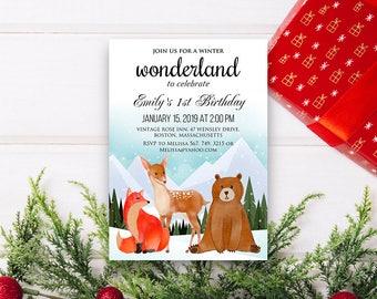 Wonderland Birthday Invitation Printable Baby Birthday Invites Winter Forest Animal Watercolor Invitations Kids Birthday Invitation DOWNLOAD