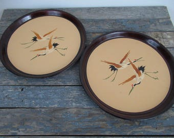 Lacquer Trays, Japanese Lacquer Trays, Vintage Lacquer Tray, Japanese Cranes, Hand Painted Lacquer Trays