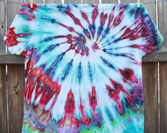 2XL Ice Dyed Tie Dye T-Shirt Adult 2XL Blue Red Purple