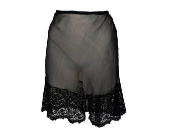 Vintage 30s Tap Pants // Black Silk / Eyelash Lace // Knickers // Lingerie M