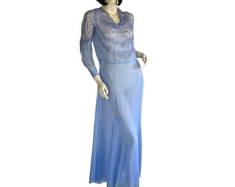 Vintage 30s Dress // Silk Chiffon // Cornflower Blue // Lace // NRA Label // Gown / M/L