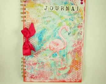 Journal, Flamingo, Large A4 Scrapbook Album, Art Journal, Mixed Media, Scrapbooking, Gift for Her, Exotic, Can Be Personalised, Memory Book