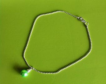 Green Pearl silver anklet