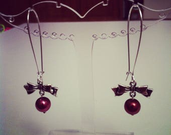 Earrings large bows Burgundy silver clasps