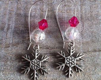 Snowflakes earrings large silvery fuchsia 2 clasps