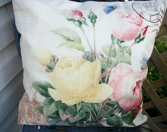 French Chic Roses Crown Postmark Pillow Cover, 18 x 18  Pillow Cover, Shabby Cottage French Provence Paris Chic Home Decor