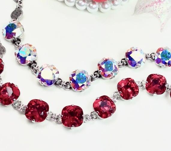 Swarovski Crystal 12MM Cushion Cut Deco Style Bracelet  - Designer Inspired - Sparkle & Shimmer - Scarlet or Aurora Borealis - FREE SHIPPING