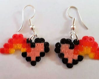 Heart and rainbow earings