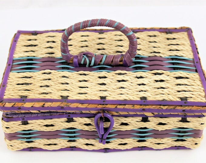Vintage 1960s DRITZ Purple Sewing Basket