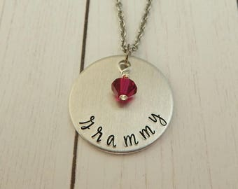 Grammy - Hand Stamped Necklace - Gift for Grandmother - Birthstone Jewelry - Pregnancy Reveal - Mother's Day Gift - New Grandmother - kg8877