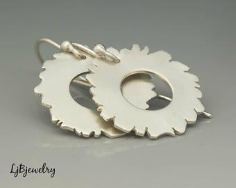 Silver Disc Hoops, Silver Earrings, Dangle Earrings, Drop Earrings, Metalsmith, Metalwork, Artisan Jewelry, Art Jewelry
