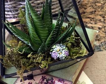 Miniature Painted Terrarium Rock, Hand Painted Garden Rock, Terrarium Decoration, Miniature Garden Rock, Fairy Garden