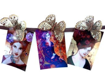 Postcards art x3 womane portrait boho and romantic.