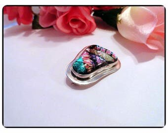 Sterling Silver & Dichroic Glass Cabochon Brooch - Vintage Modern 1990's Abstract Bell Shaped Modernist Art Glass Pin-1383e-061717135
