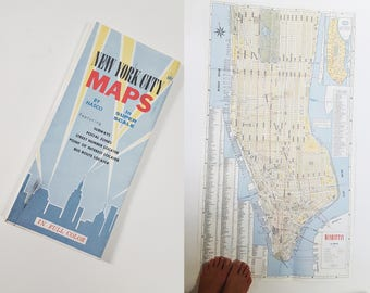 1960s New York City HASCO Double Sided Jumbo Poster Size Street Map
