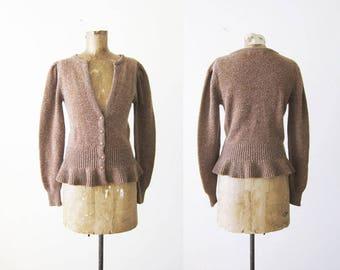 80s sweater - 80s womens cardigan - peplum top - light brown knit long sleeve - plunge neck - 80s clothing - ruffle sweater