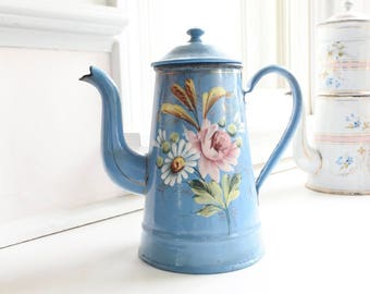 Rare Antique French Enamelware Coffee Pot, hand-painted, raised enamel Flowers, c. 1880's